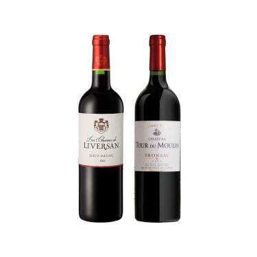 Kit 2X Vinho Francês Tinto Les Charmes De Liversan Haut Medóc E Château Tour Du Moulin Les Terres Fronsac