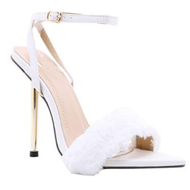 Imagem de Holibanna 1 par de sandálias femininas sexy de salto alto com bico fino, Branco, 8.5