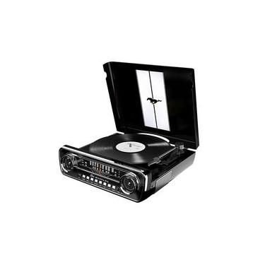Toca-discos vinil Mustang ION c/ rádio, USB, entrada auxiliar e conversão digital