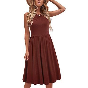 Liyinxi Vestido de verão feminino com gola em frente única de algodão, vestido casual com bolsos, Marrom, Medium