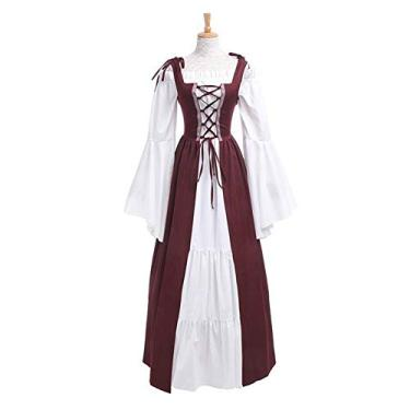 soAR9opeoF Women's Casual Maxi Dress Women's Vintage Cocktail Party Swing Dress,Vintage Women Medieval Square Neck Slim Waist Lace Bandage Maxi Dress Costume Wine Red XXXXL