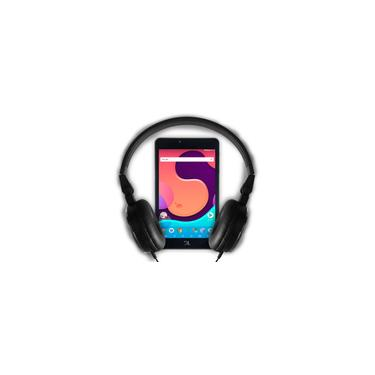 Imagem de Kit Tablet dl Creative Tab 7 QuadCore Wi-Fi 1GB/8GB Branco Com Fone de ouvido P2 Onbongo F90 Preto