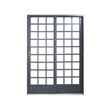 Porta de Correr Quadriculada em Aço 2 Folhas 1 Fixa com Base em Alumínio MGM Carrara 2,15mx1,60mx6cm Direita - Direita