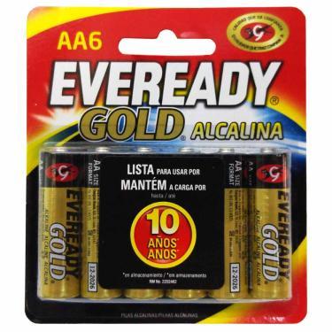 Pilha Alcalina Eveready Gold AA Pequena 6 Unidades 40387