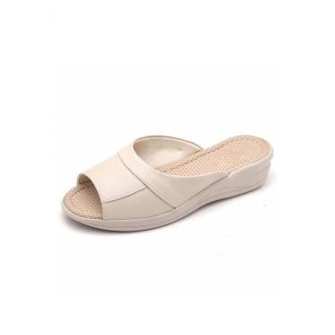 Sandália Tamanco GH Calçados Anti-stress Ortopédico Couro Marfim  feminino