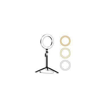 Portátil 20cm / 8 de polegada 3200K-5500K Diammable Ring Video Light 3pcs Modos de iluminação com tripé de mesa Selfie Stick para streaming ao vivo Make-up Vlogging Portrait Photog