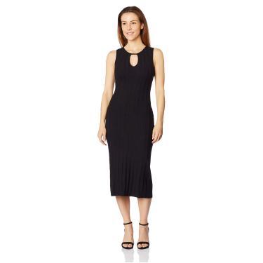 Vestido Midi Canelado Sommer, Feminino, Preto, M