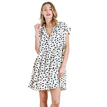 Mini vestido feminino com estampa de animal da Umgee, Off White, X-Large