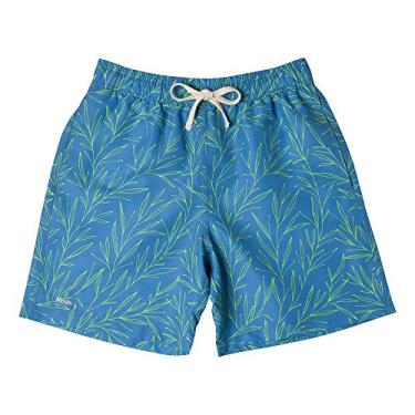 Shorts De Praia Casual Estampada Folhagem Color, Mash, G, Azul Medio, Masculino