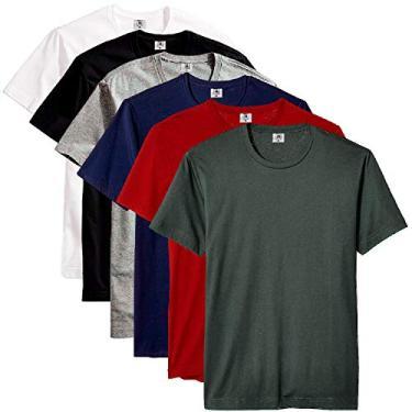 Kit com 6 Camisetas Masculina Básica Algodão Part.B Premium (Azul, Verde, Cinza, Vinho, Preto e Branco, GG)