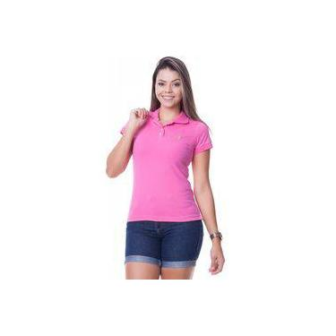 Camisa Polo Feminina Aveludada Cor Rosa Sapocaco 87ad7a8918c8d