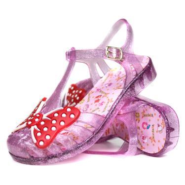 Sandália Para Menina infantil Mesma Batida Estilo Aranha Roxo Glitter  menina