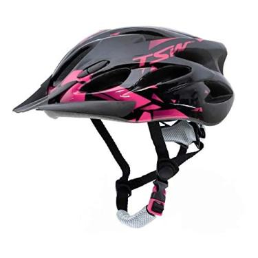 Capacete Ciclismo Tsw Raptor 2 Com Led Preto Rosa Mtb Tam M