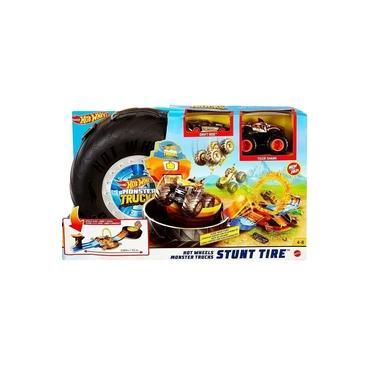 Imagem de Brinquedo Pista de Carrinho Hot Wheels Pneus de Acrobacia Com Carrinho e Caminhao Monstro