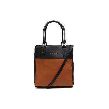 Bolsa Tote Bag Grande Bicolor Alice Palucci Preto/marrom Al4805