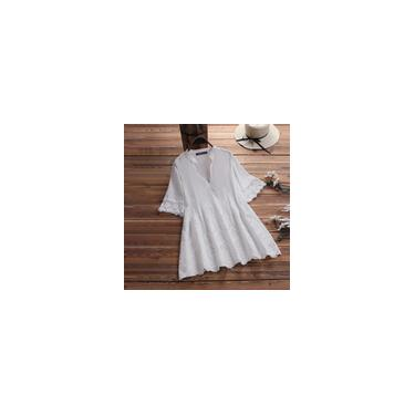 Blusa de crochê de renda das mulheres zanzea 2020 Casual Oco Out Work Blusas Elegantes Camisas de Verão Feminino Com Decote Em V Tops Plus Size Túnica