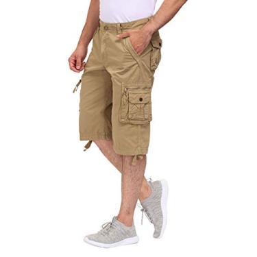 DOBOLY Short cargo masculino com cintura elástica, shorts para caminhada, bolsos com zíper, Caqui, 32