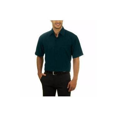 ffa136714c Camisa Social Masculina Bom Pano Manga Curta Lisa Ciano Escuro Verde