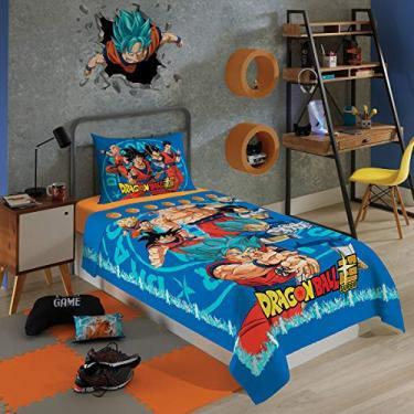 Jogo de Cama Solteiro Estampado Dragon Ball 1,50 m x 2,10 m Com 2 peças
