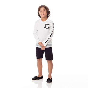 T-Shirt Infantil/Kids Em Meia Malha Penteada Com Recortes E Estampa Frontal - Um Mais Um Cru