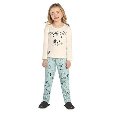 Pijama Infantil Feminino Gatinho Rovitex Kids Bege 6