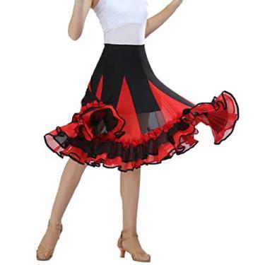 menolana Feminina Saia Elástica para Dança de Salão Valsa Saias Flamencas - Royalblue - Vermelho