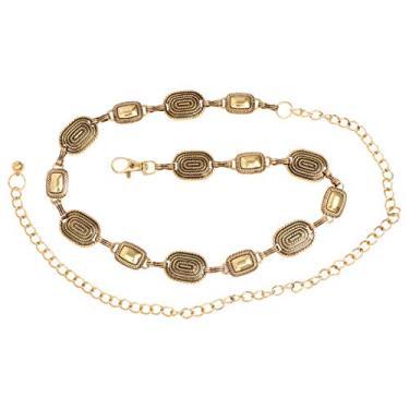 SOIMISS Moda Metal Cintura Corrente Vestido Decorativo Dança Vestido Cintura Corrente (Dourado)