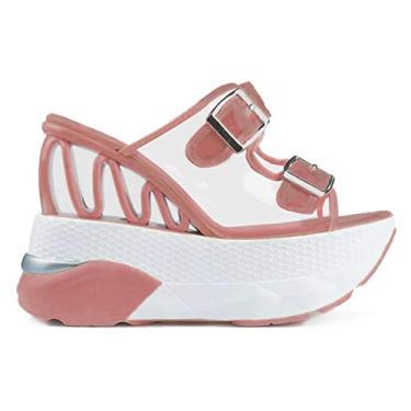 Sandália feminina SaraIris com plataforma deslizante de dedo aberto, sandália de salto transparente com fivela dupla, rosa, 8.5