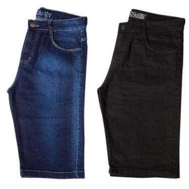 Kit c/ 2 Bermudas Masculinas Jeans e Sarja Coloridas com Lycra - Jeans Escuro e Preta - 40