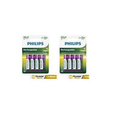 8 Pilhas Palito AA Recarregaveis Philips