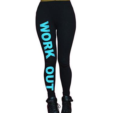 Imagem de Letuwj Calça legging feminina elástica para ioga e academia, Azul, tamanho �nico