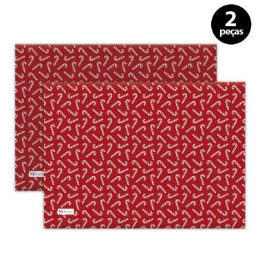 Imagem de Jogo Americano Mdecore Natal Bengala 40x28 cm Vermelho 2pçs