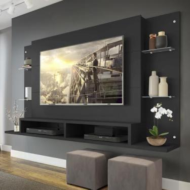"Painel Nairóbi Plus para TV Ate 60"" Preto Acetinado Texturizado - Mult"