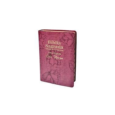 Imagem de Bíblia Sagrada Letra Gigante Luxo Folha Pink - C/ Harpa 14x21cm