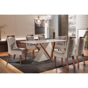 Conjunto Sala de Jantar Mesa Tampo de Vidro Pequim 6 Cadeiras Atena LJ Móveis Off White/Castanho Premio/Pena Bege/Laca