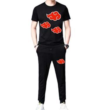 Conjunto Masculino Akatsuki Naruto Anime Calça e Camiseta tamanho:M;Cor:Preto;Genero: Masculino