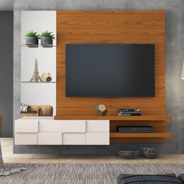 Painel Home Suspenso Turim para TV até 55 polegadas Dj Móveis - Carvalho Americano com Off White