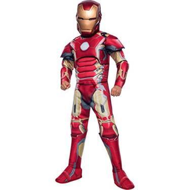 Fantasia Homem de Ferro Iron Man Infantil Luxo Armadura, Músculo e Botas Original Marvel G 12-14
