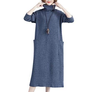 Ocamo Vestido feminino de malha com gola alta elástica, casual, ajuste solto, azul, cinza, G