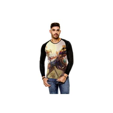 Camiseta Raglan League Of Legends Azir Imperador Das Areias Manga Longa