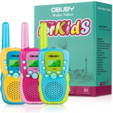Brinquedos Obuby para meninos de 3 a 12 anos walkie talkies para crianças 22 canais 2 maneira brinquedos de rádio com lanterna LCD iluminada 3 KMs Range Brinquedos de presente para a idade 3 até menino e meninas para fora, caminhada, camping