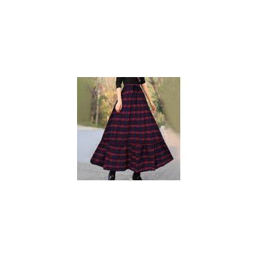 Manta elástica feminina com cintura elástica grande swing quadrada plissada plus size saia longa solta Vermelho 4XL