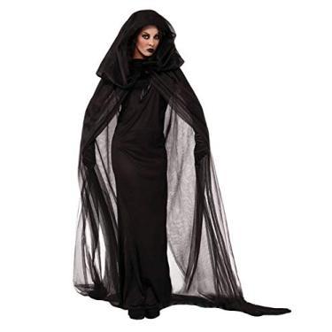 Imagem de Bestgift Fantasia feminina preta com capuz carnaval Halloween preta 1 GG
