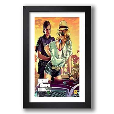 Quadro Gta 5 Video Game 60x40cm Poster Decoracao Jogos Moldura Pronto para Pendurar