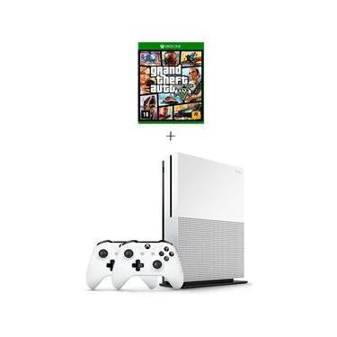 Console Xbox One S 1tb Branco com 2 Controles + Jogo Grand Theft Auto V