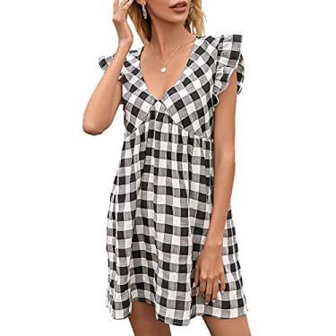 Moniclern Mini vestido feminino xadrez com decote em V profundo babados sem mangas cintura alta vestido casual para férias
