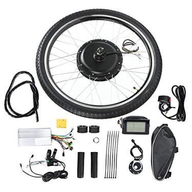 Jacksking Kit de conversão de motor, bicicleta elétrica 48 V 1000 W kit de conversão de motor roda 66 cm motor de ciclismo com medidor (unidade frontal)