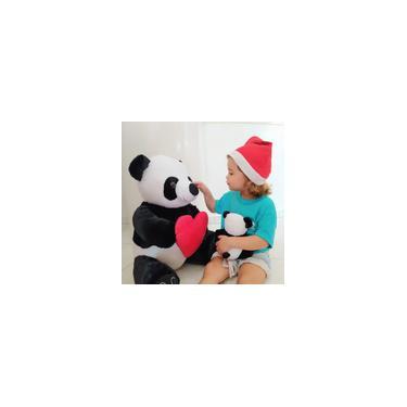 Imagem de Urso Panda De Pelúcia Com Coração G 50cm Brinquedo Decor