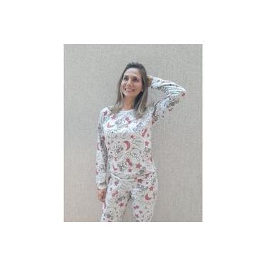 Pijama Feminino Longo Inverno Algodão Ursinhos