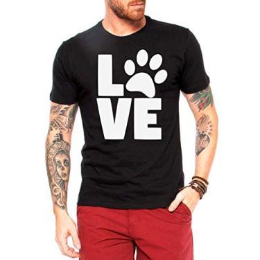 Camiseta Love Pet - Camisas Engraçadas e Divertidas - Cachorro - Gato - Dog - Cat - Tumblr (Cinza, P)